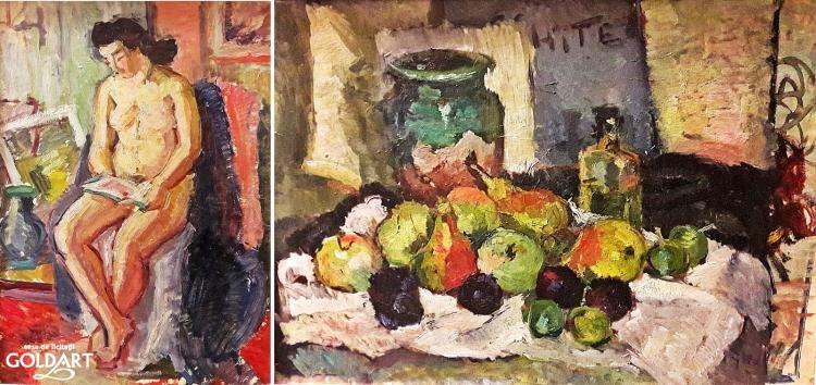 """""""Nud in interior si Natura statica cu fructe"""", de Petre Iorgulescu Yor"""